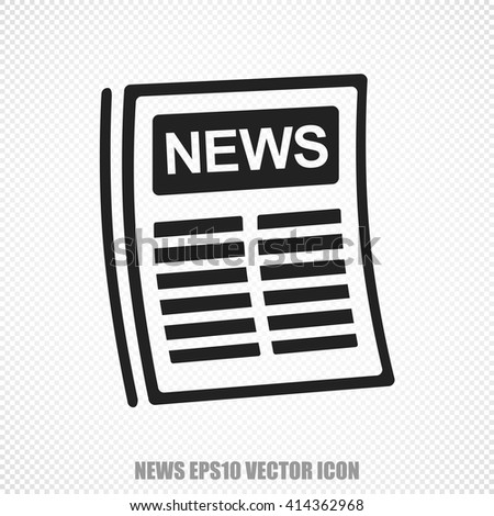 The universal vector icon on the news theme: Black Newspaper. Modern flat design. For mobile and web design. EPS 10. - stock vector