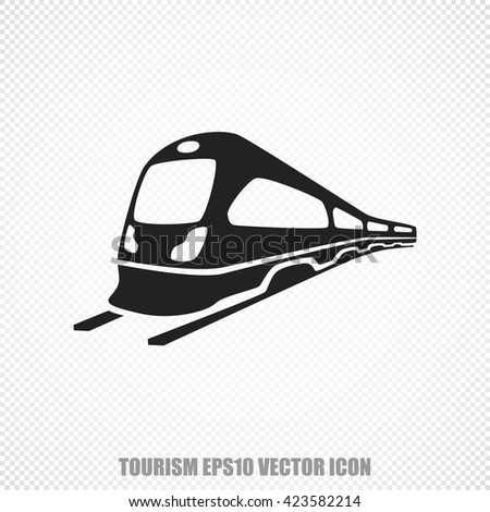 The universal vector icon on the travel theme: Black Train. Modern flat design. For mobile and web design. EPS 10. - stock vector