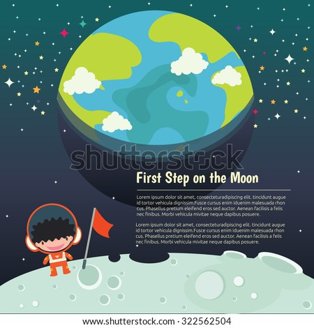 The universe kids,  Planets comparison, Galaxies Classification,Kids space learning,Full vector, Earth and Moon, first step on the moon - stock vector