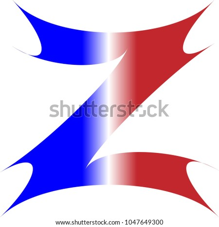 Uppercase alphabet letter z red white stock vector 1047649300 the uppercase alphabet letter z in red white and blue stripes with na starburst outline spiritdancerdesigns Image collections