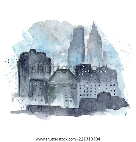 the urban landscape. Paint of the city. watercolor illustration. - stock vector