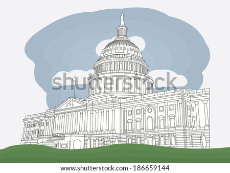 The US Capitol in Washington DC. vector illustration - stock vector