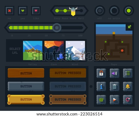 The user interface for the game: map, buttons, icons,  levels, controls and settings. Flat vector style - stock vector