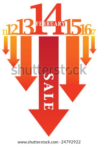 The valentine's day number 14 February - stock vector