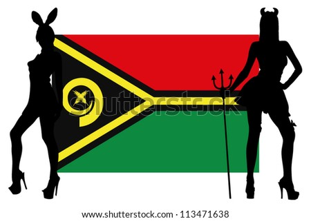 The Vanuatu flag with silhouettes of women in sexy costumes