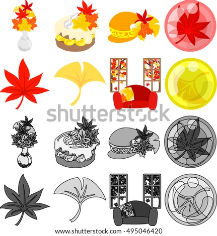 The various cute icons of autumn season