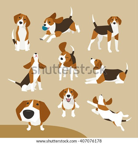 The various operations of cute beagle - stock vector