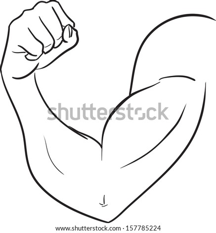 The vector black and white image with a biceps of the strong man. Subjects are bodybuilding, force  - stock vector