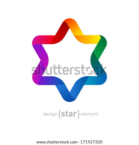 The Vector colorfull Origami David Star on white background - stock vector