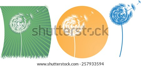 The vector dandelion on a wind - stock vector