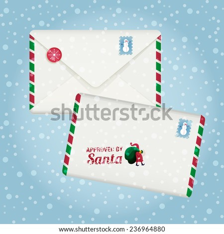 The vector drawn closed envelope with stamp Approved by Santa Claus. Winter background with snowflakes for your design. Stamp with cute snowman. Christmas and winter holidays.  - stock vector