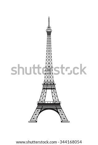 The vector Eiffel Tower isolated with white