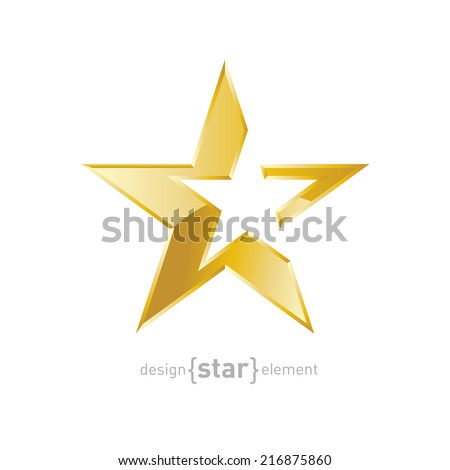 The vector Gold Abstract star on white background. Corporate logo template - stock vector
