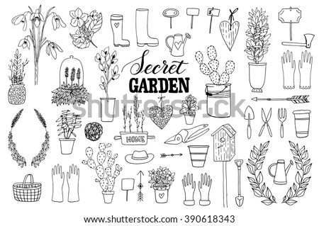 The Vector Hand Drawn Collection Of Garden Items Flowers Tools Plants Pots