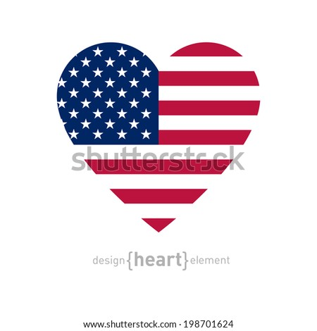 The vector heart with american flag colors and symbol - stock vector