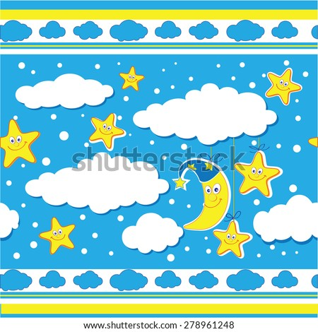 "The vector illustration ""baby pattern background with clods"" for design"