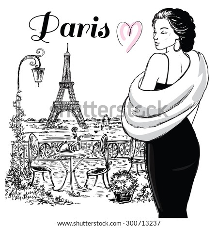 "The vector illustration ""beautiful girl in Paris"" for design"