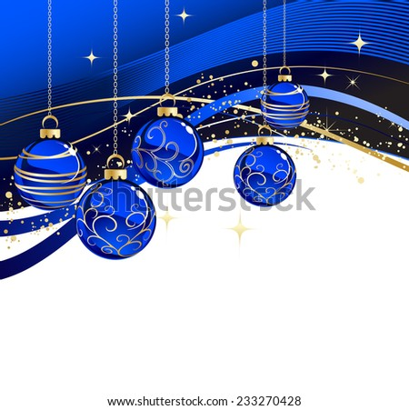 The vector illustration contains the image of blue christmas greeting
