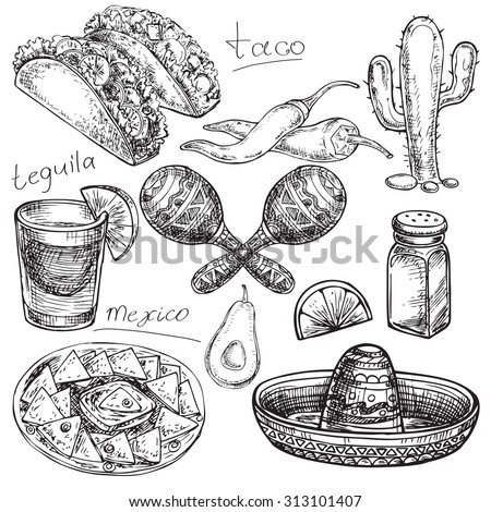 "The vector illustration ""hand drawn Mexico collection"" for design"