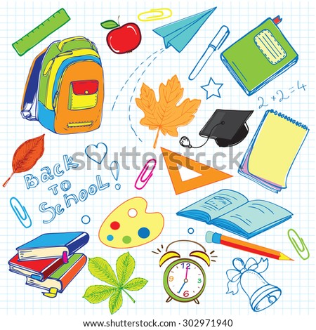 "The vector illustration ""hand drawn set school background"" for design"