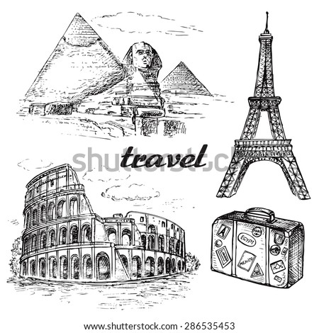 "The vector illustration ""hand drawn travel collection"" for design"