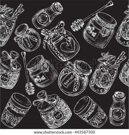 "The vector illustration ""jars seamless pattern on the black background"" for design"