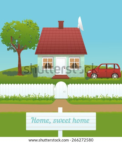 the vector illustration of cute house with chimney, tiled roof and white fence - stock vector