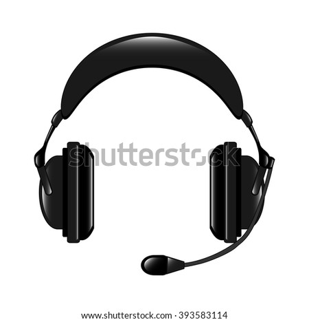 The vector illustration of the modern headphone set isolated in the white background, realistic version. - stock vector