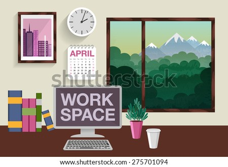 The vector illustration of the workspace for your design. Computer, books, picture on the wall, clock, calendar, coffee cup and small plant on a table. - stock vector