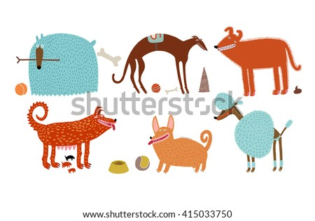 The vector illustration of various blue and orange dogs - stock vector