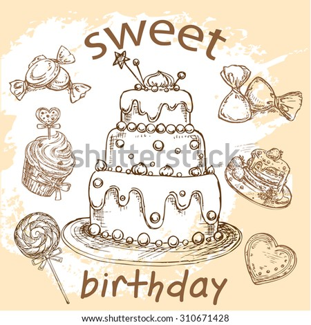 "The vector illustration ""postcard of birthday with a cake"" for design"