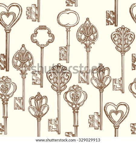 "The vector illustration ""seamless pattern set the keys"" for design"