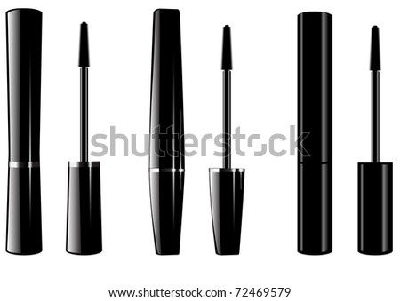 The vector image ink for eyelashes some kinds - stock vector