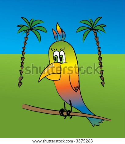 The vector image of a multi-coloured parrot on a background of palm trees. - stock vector