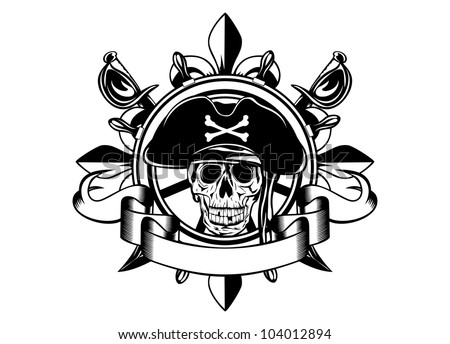The vector image of piracy skull and steering wheel - stock vector