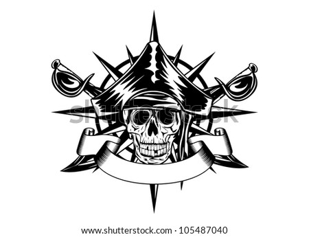 The vector image of  piracy skull and wind rose - stock vector