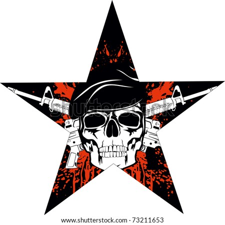 The vector image of skull in beret with the crossed rifles - stock vector