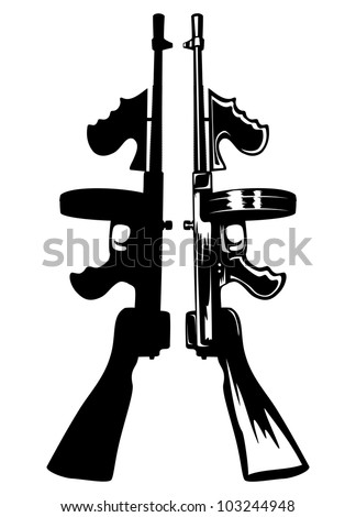 The vector image of the gangster submachine gun - stock vector