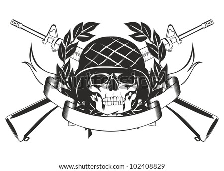 vector image skull military helmet crossed stock vector 102408829 shutterstock. Black Bedroom Furniture Sets. Home Design Ideas