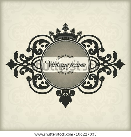 The vector image Vintage frame with crown