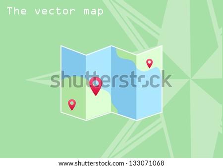 the vector map icon - stock vector