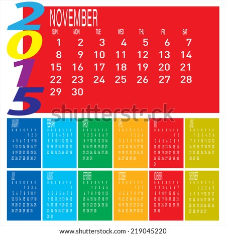 The vector of Year 2015 Colorful Calendar - November.