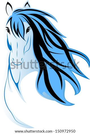 the vector picture of horse's head - stock vector