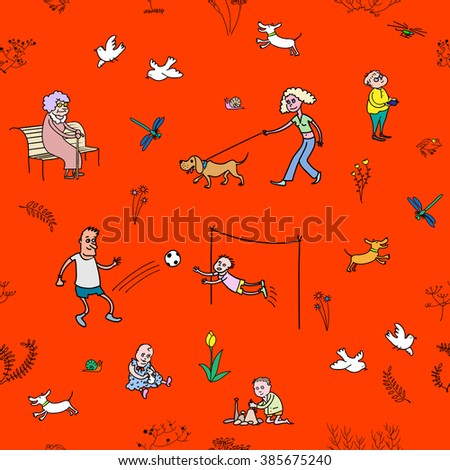 The vector seamless pattern with walking and resting people