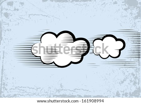 The vector sketch of a two clouds in style of an ancient engraving.