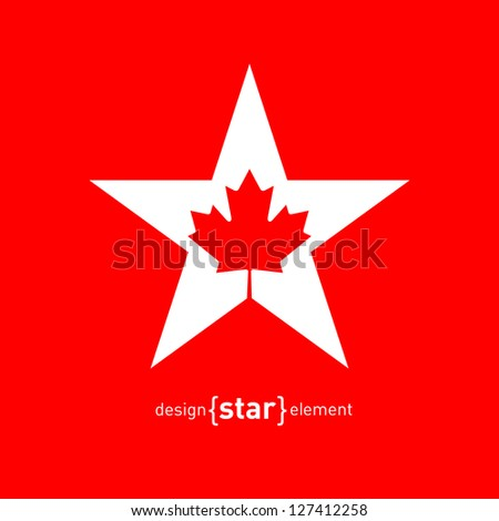 The Vector Star with Canadian maple Leaf - stock vector