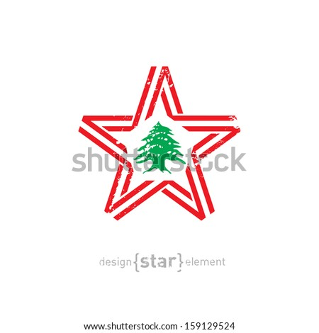 The vector star with Lebanon flag colors, symbols and grunge effect without gradients - stock vector