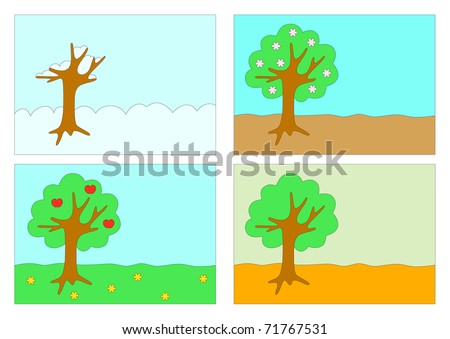 The vector stylized image of the four seasons