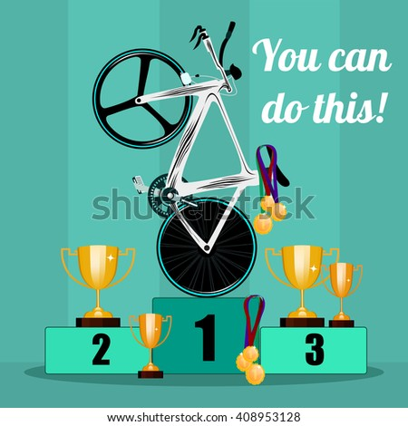The victory in cycling. Prize-winning places on cycling. Awarding the prize cups and medals to the winners in the bike race. Cycling and awards. Vector illustration. - stock vector