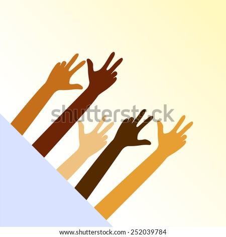 The Victory sign, hand gestur - stock vector